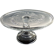 King Son & Co glass cake stand Bleeding Heart c. 1875