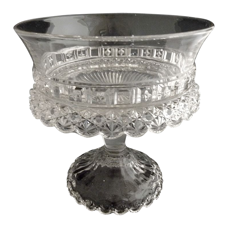 Dalzell, Gilmore & Leighton glass compote Starred Block c. 1888