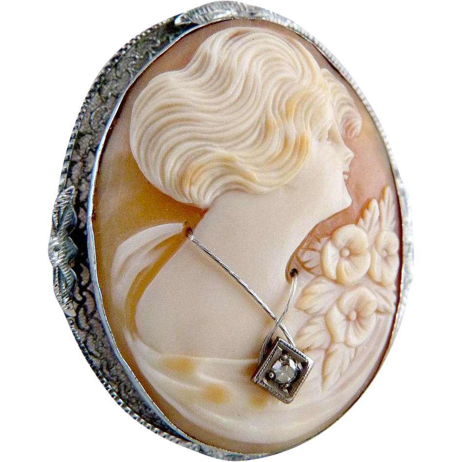 Sterling diamond cameo brooch habille carved shell