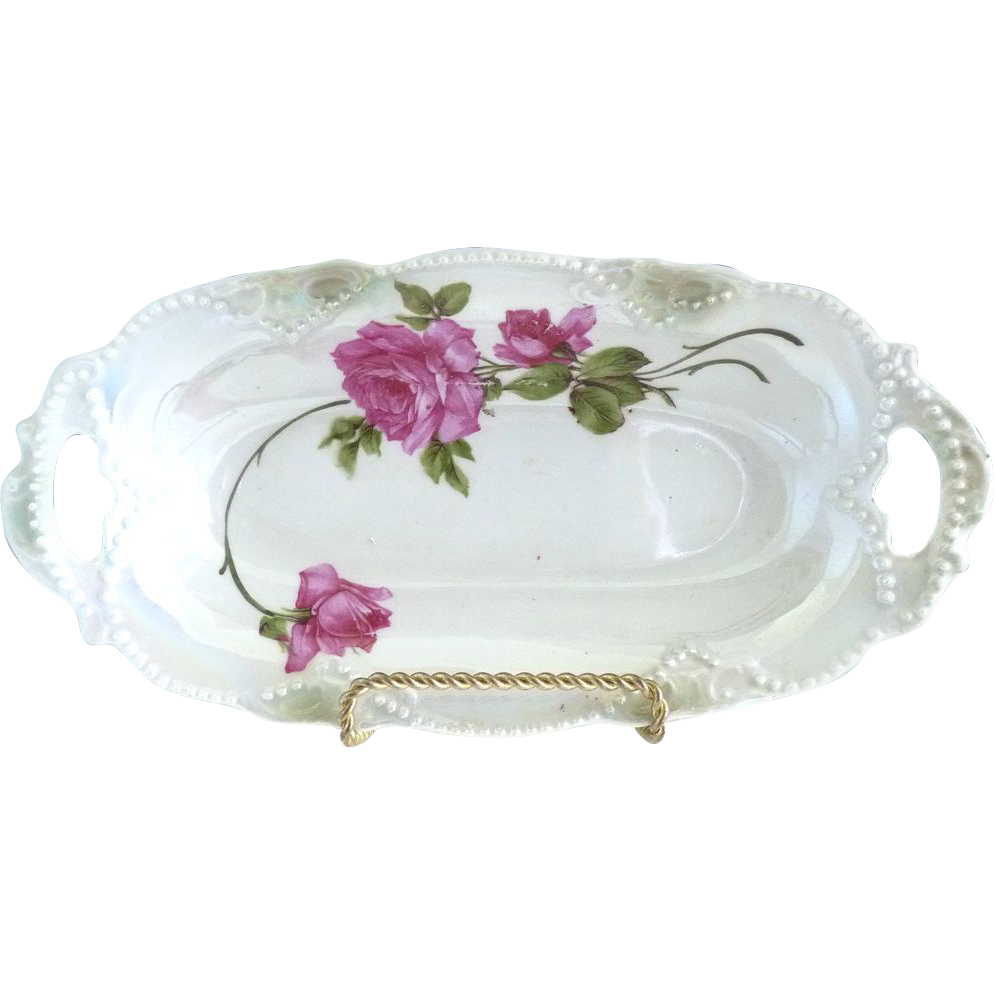 Erphila Germany pickle dish pink roses beading