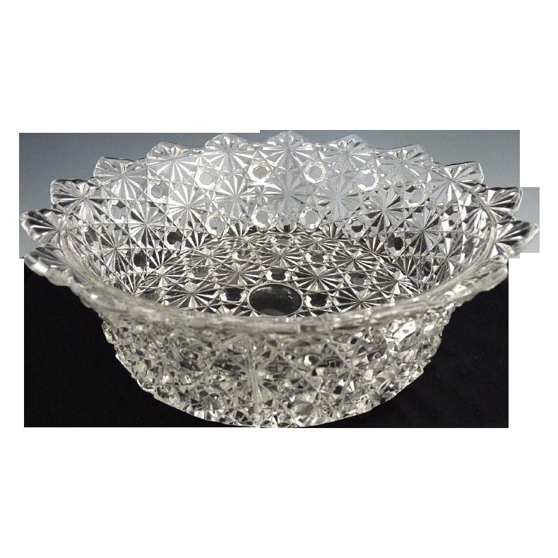Antique EAPG bowl strawberry fan scalloped rim