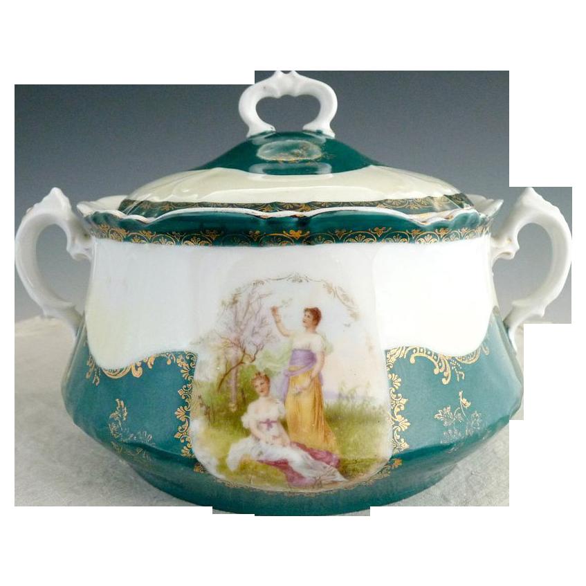Antique portrait cracker jar Austria porcelain c. 1890s