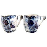 Cobalt RS Prussia chocolate cups gold detail c. 1890s