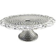Imperial Glass cake stand lace edge c. 1950