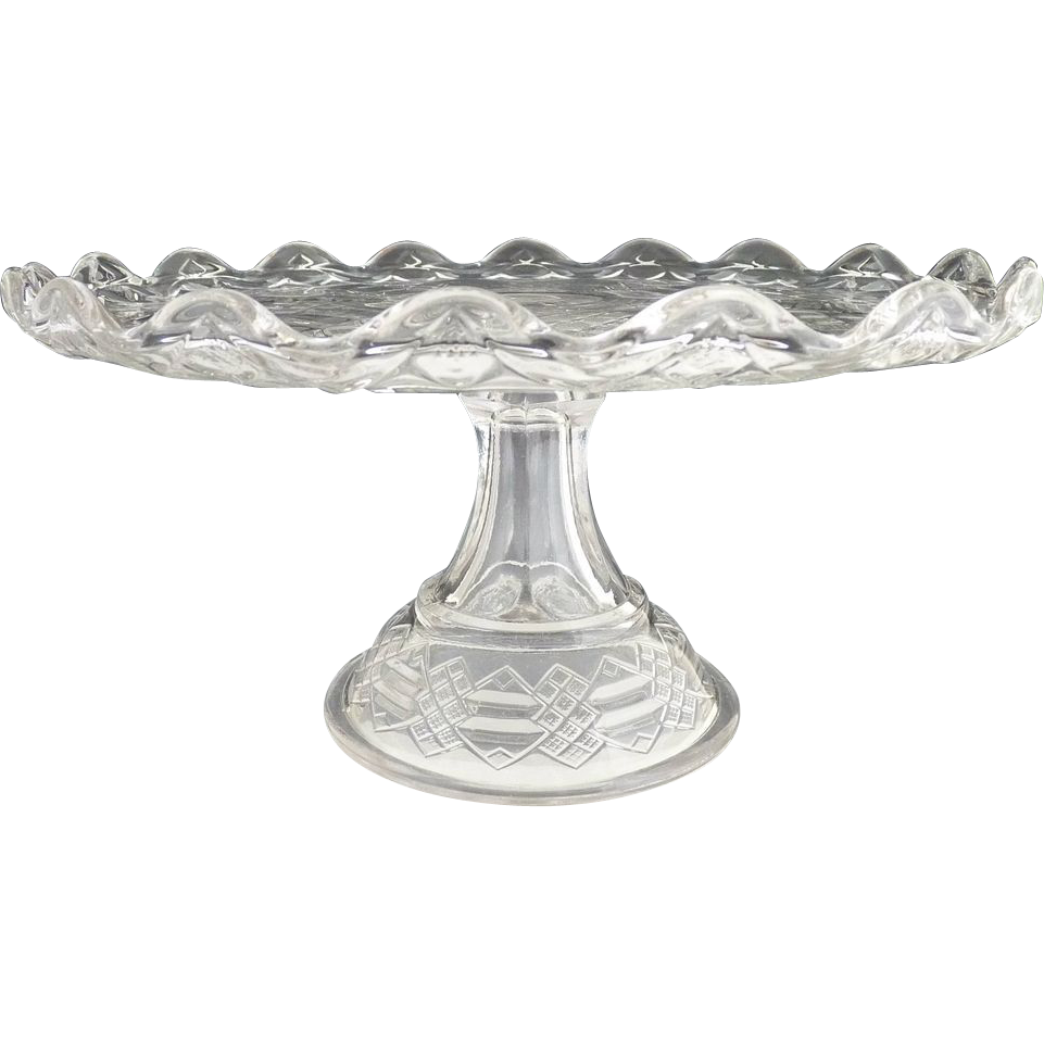 Antique Bryce Walker glass cake stand Jacobs Ladder c. 1876