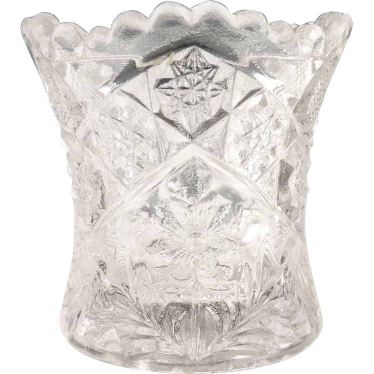 Indiana Glass toothpick holder Gaelic pattern c. 1908