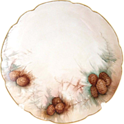 Bavaria porcelain pinecone plate hand painted