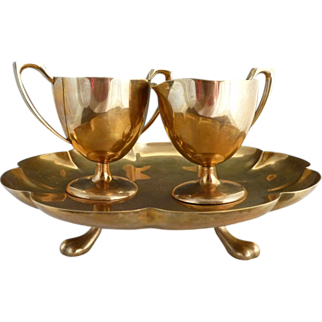Solid brass cake stand with creamer sugar Dirigold