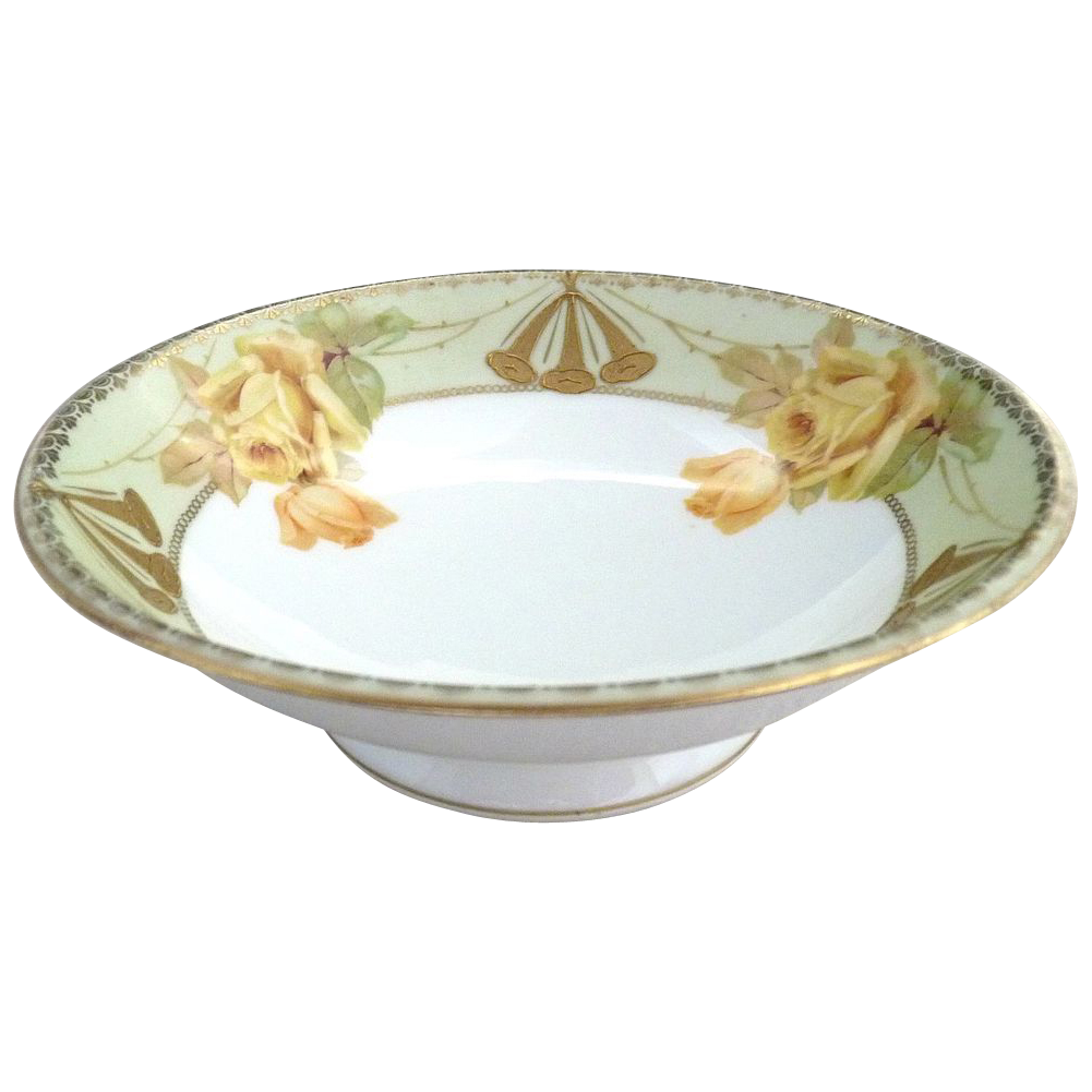 Prussia yellow rose pedestal bowl gold trim