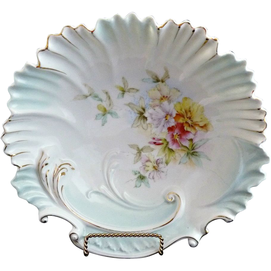 RS Prussia Art Nouveau bowl shell rim