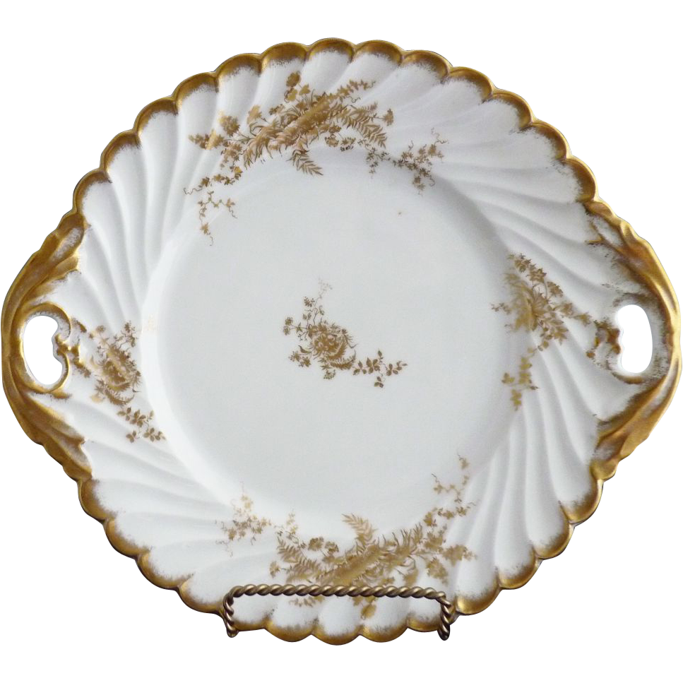 Victorian porcelain cake plate gold flowers German c. 1890s