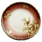 Antique porcelain bowl peonies gold trim Ohme