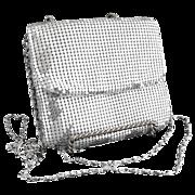 Silver mesh purse silver chain clubbing prom