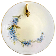 French porcelain tea plate hand painted blue bonnets
