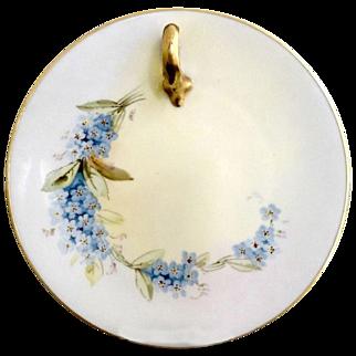 French porcelain tea plate hand painted blue bonnets
