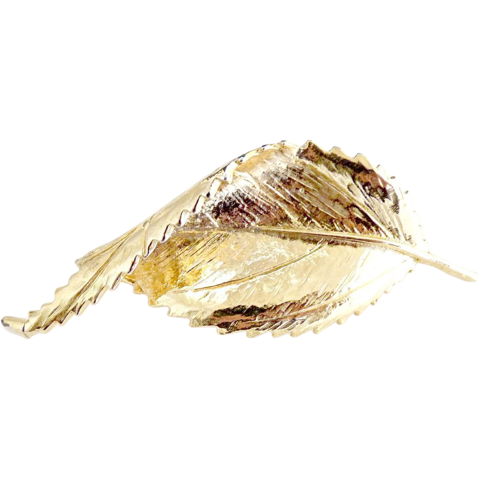 Autumn leaf brooch gold textured design