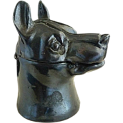 Bronze inkwell Doberman dog original porcelain insert