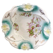 German porcelain bowl carnation rim c. 1890s