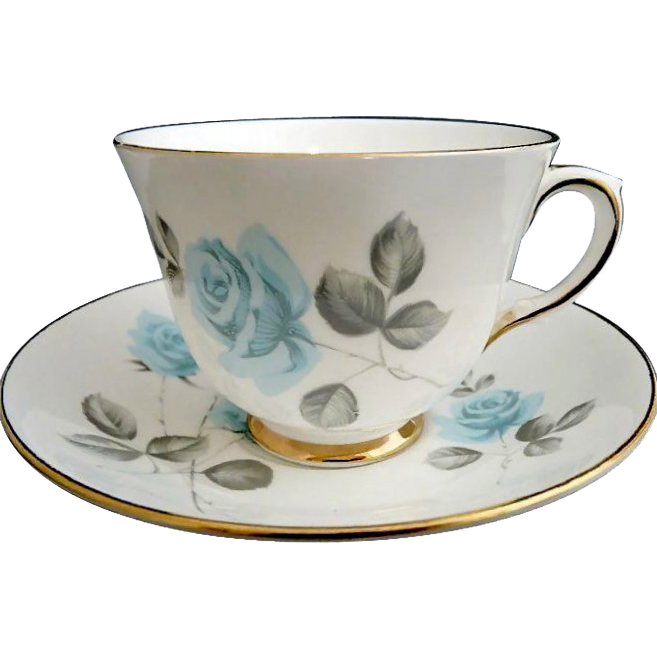 Staffordshire cup saucer Blue Roses English porcelain