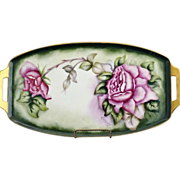 Antique porcelain serving tray hand painted roses c. 1914