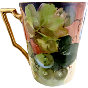 Bavaria porcelain wine cup hand painted grapes Heinrich & Co.