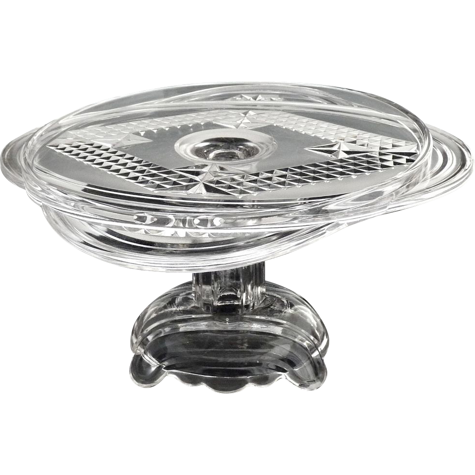 Rare Adams glass cake stand NR120 c. 1884