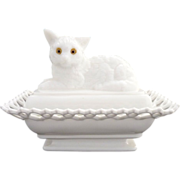 Atterbury milk glass nesting cat compote c. 1889
