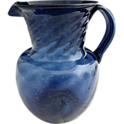 Antique cobalt seed glass pitcher hand blown