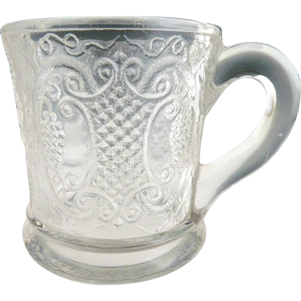 Antique glass mug Bryce Walker Grape with Scroll Medallion