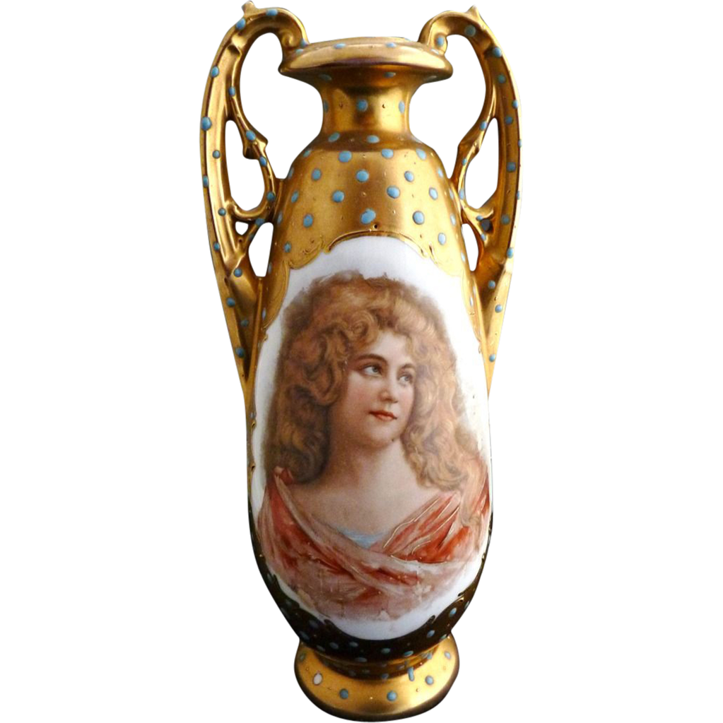 Edwardian gilded portrait vase raised enameling Austria c. 1904