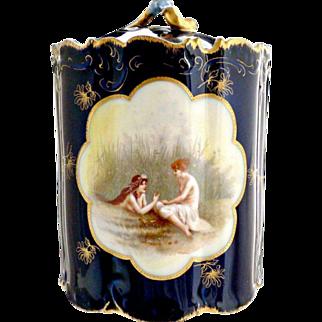 Rare Rosenthal cobalt porcelain canister Women in Marsh