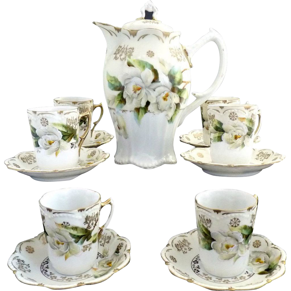 Exquisite fine porcelain chocolate pot set magnolias gold c. 1890s