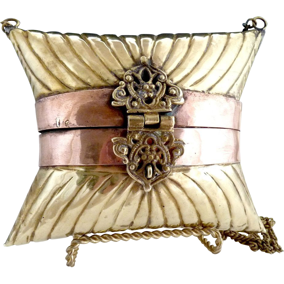 Brass copper pillow purse scroll latch 1970s
