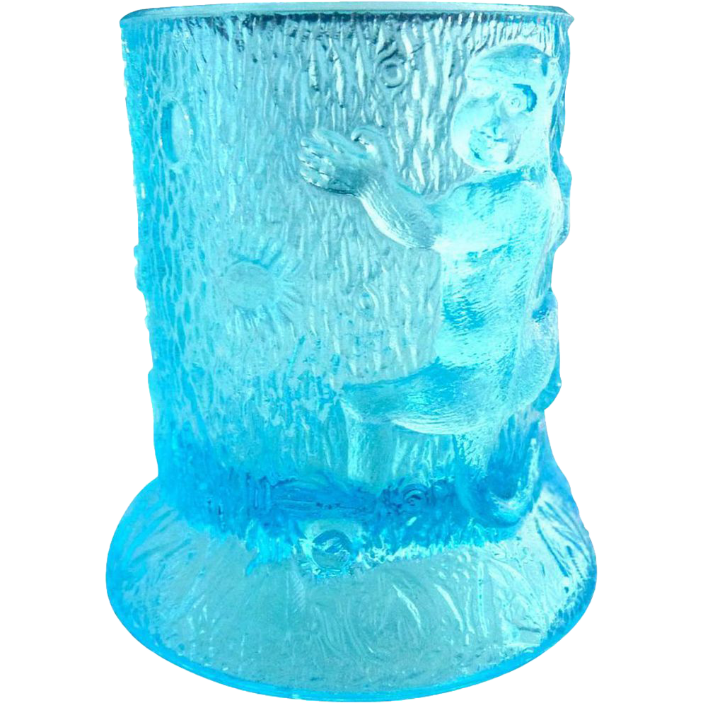 US Glass blue toothpick holder Monkeys