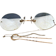 Vintage gold Pince nez eyeglasses hair pin