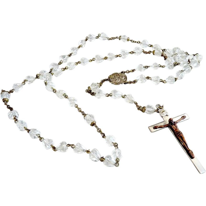 Vintage Austrian crystal rosary copper crucifix