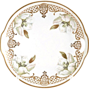 Vintage ES Prussia cake plate white tulips gold trim
