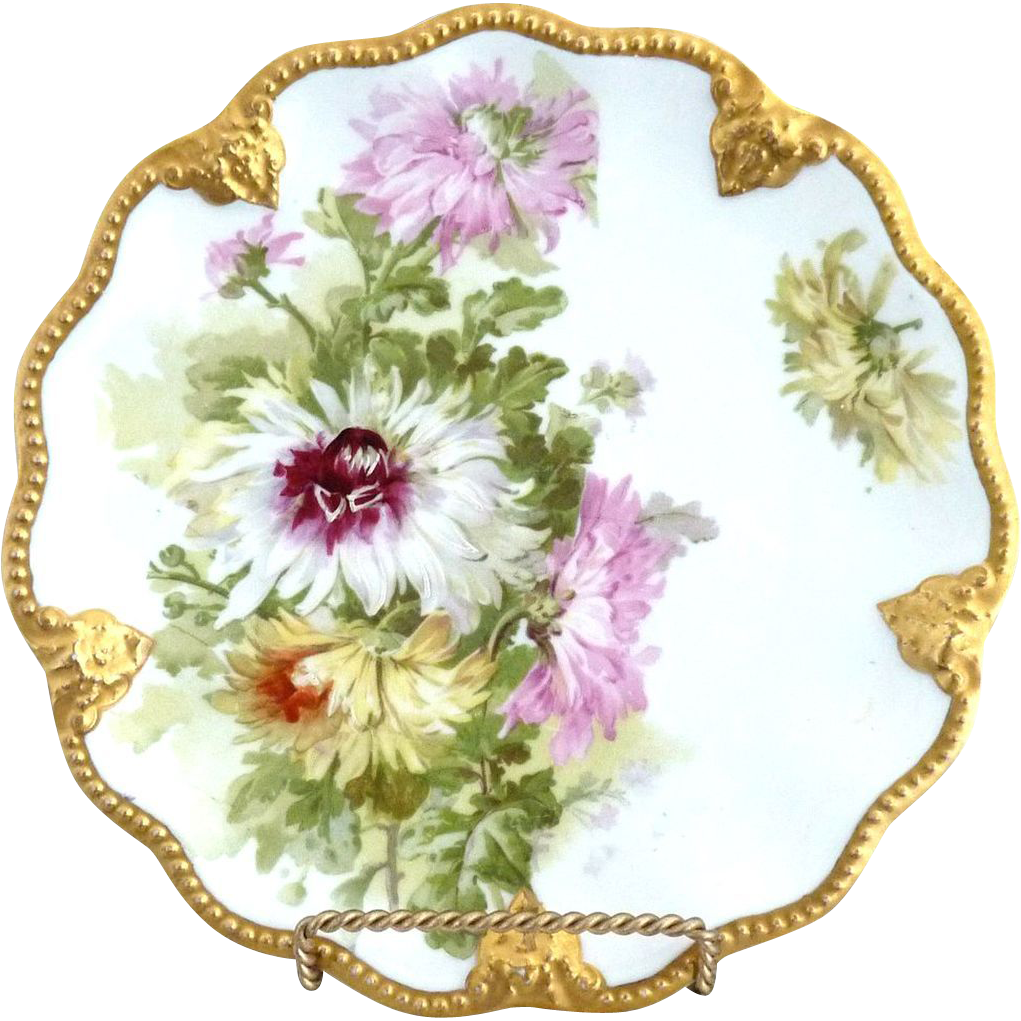 Lanternier Limoges plate gold rim chrysanthemums