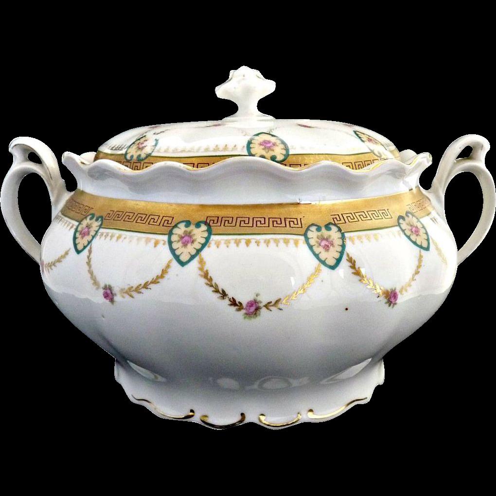 MZ Austria porcelain cracker jar chain of hearts