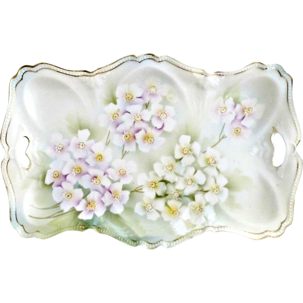 RS Prussia vanity tray spring blossoms Steeple mark