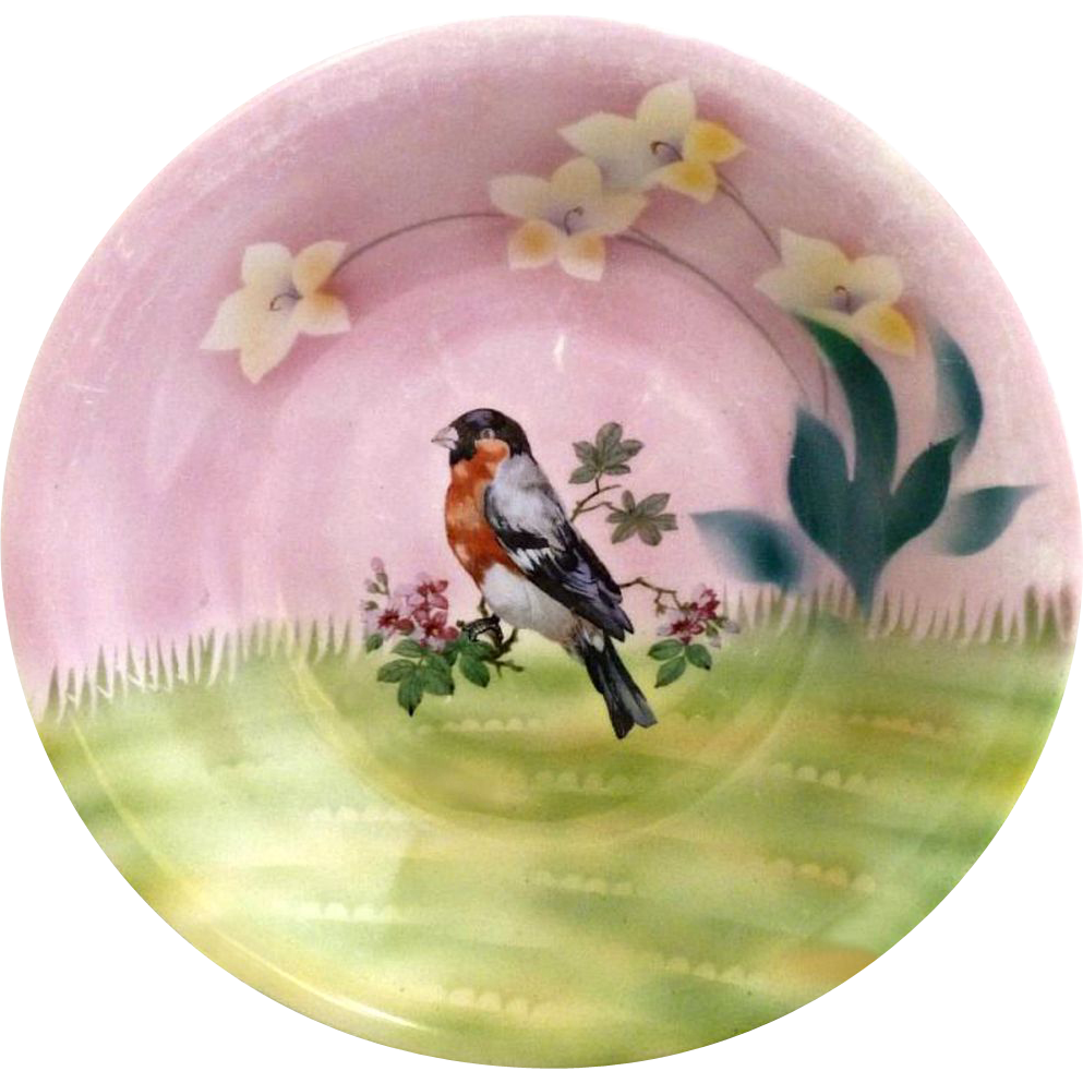 ES Prussia portrait bowl chickadee bird