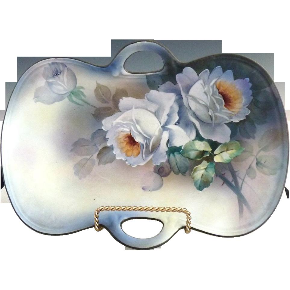 Art Deco Japanese porcelain serving tray white roses Nippon