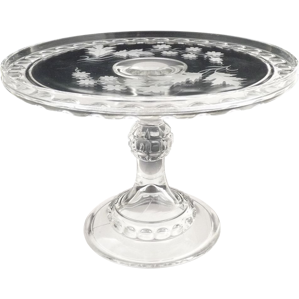 Ripley glass cake stand Dakota Baby Thumbprint etched oak leaves