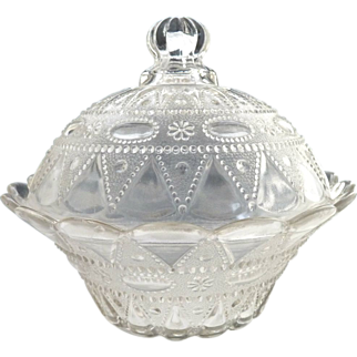 Antique covered berry bowl Lacy Dewdrop