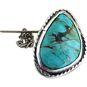 Sterling silver turquoise tie tack