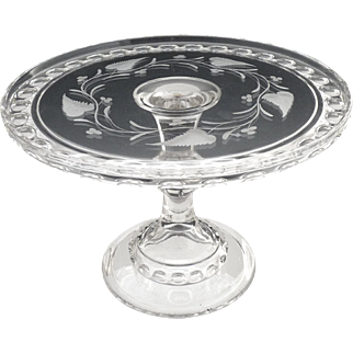 EAPG Ripley glass cake stand etched ivy berry Dakota c. 1885