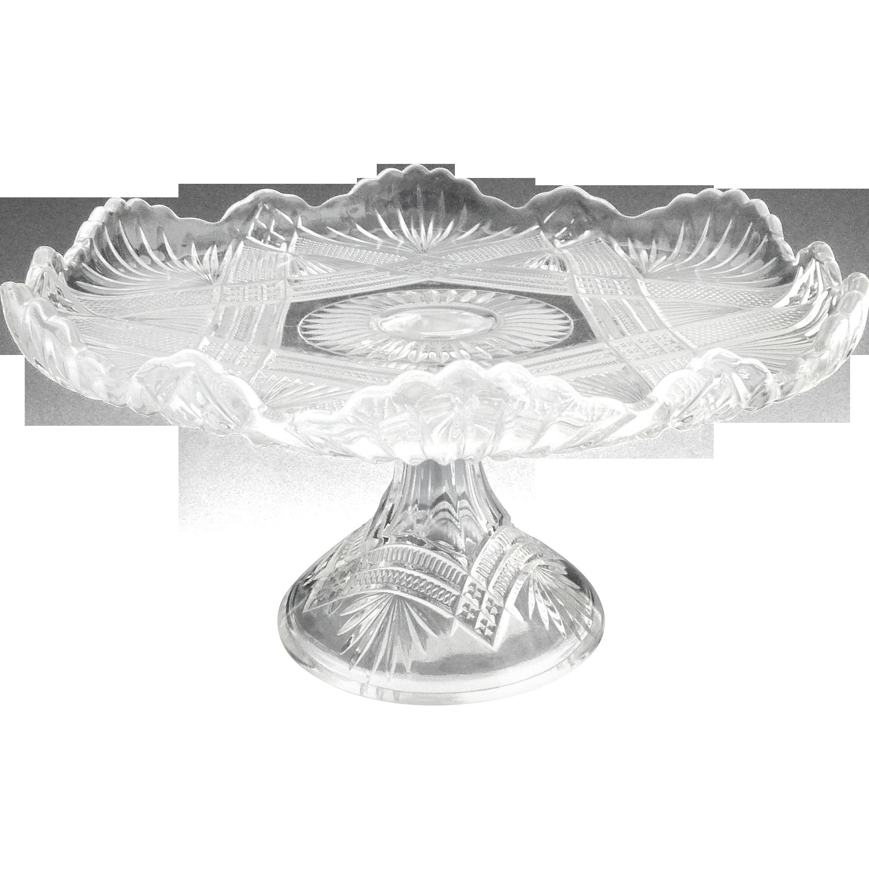 Duncan EAPG cake salver TeePee Wigwam c. 1896