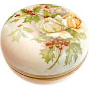 Prussia Royal Rudolstadt porcelain box roses holly berries c. 1890s