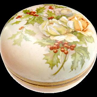 Prussia Royal Rudolstadt porcelain box roses holly berries c. 1890s