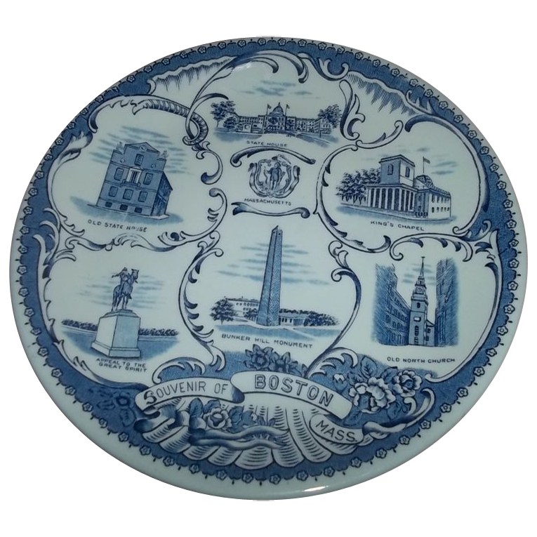 Collectible Blue & White Transfer Souvenir Of Boston  Plate